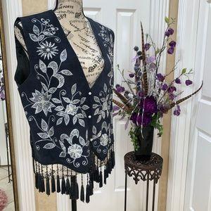 Vintage MODI Beaded Vest w Fringe NWT